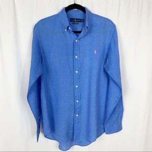 Ralph Lauren Ocean Wash Linen Button Down Shirt M